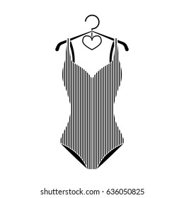 Women swimsuit closed with the flag of America. Swimsuit for the patriots.Swimcuits single icon in black style bitmap, raster symbol stock illustration.