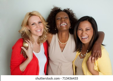 Women talking and laughing.