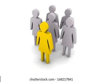 Women team. Leadership. Teamwork. Concept 3D illustration
