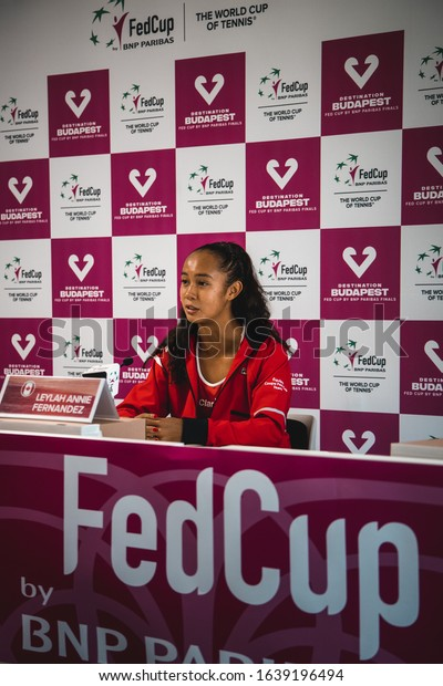 Women Tennis FedCup Qualification - 8. February 2020 in Bienne/Biel Switzerland - Switzerland vs. Canada - Belinda Bencic vs. Leylah Annie Fernandez  Leylah Annie Fernandez press conference