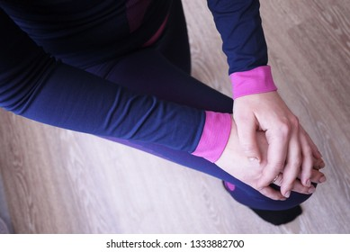 Women thermal underwear, beautiful fabric, fits the body and chest. Details, close-up, daylight.