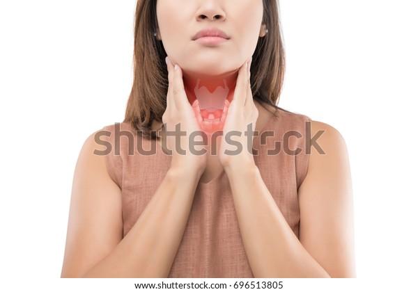 女性甲狀腺控制。 一個人的喉嚨痛苦孤立在白色背景上。