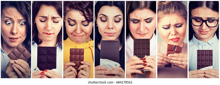Women tired of diet restrictions craving sweets chocolate. Human face expression emotion. Feelings of guilt