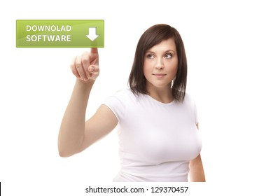 Women touching download software screen on white background