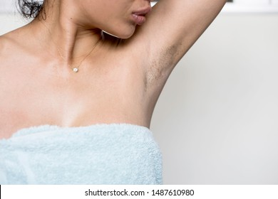 Women underarm who have lot of Hairy armpits black and long.Daily skin care and hygiene.