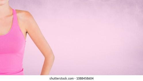 Women upper body in pink exercise vest