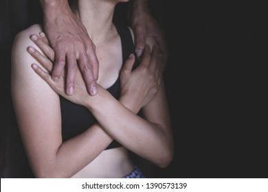Women use their hands to protect themselves from sexual abuse.Detain rape, sexual abuse , human trafficking, domestic violence rape.
