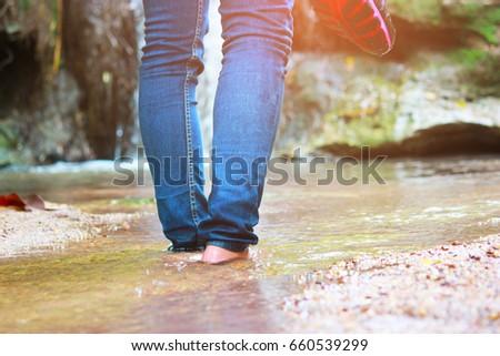 cfb1314b4692 Women Walking Jeans Sneaker Shoes Waterfall Stock Photo (Edit Now ...