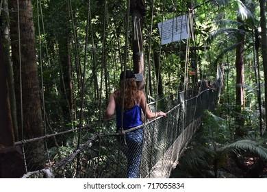 A women walkthrough hanging bridge in the forest.