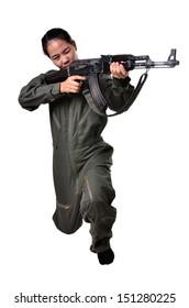 Women wear the jumpsuit was holding a gun kalashnikov (AK 47).