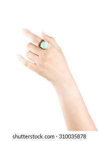 Women wear the ring finger isolated on a white background.