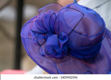 A women wearing a blue ribbon hat at a horse race.