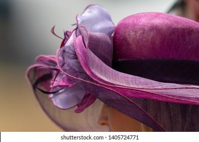 A women wearing a decretive hat at a horse race.