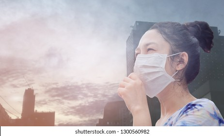 women wearing facial hygienic mask for Safety outdoor. People in masks because of fine dust in thailand. Problems found in major cities around the world. air pollution,Environmental awareness concept