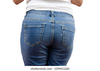 Women wearing jeans on the back on the white background.
