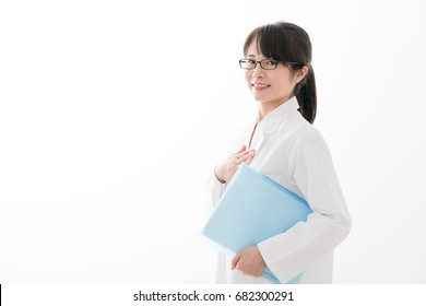 Women in white lab coat, doctor, pharmacist, Put your hands on your chest, trust,