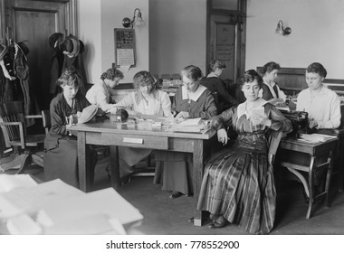 Women working at evangelist Billy Sunday's headquarters, March 21, 1917. Nell became Sunday's manager, as his ministry expanded. By 1917, they had 26 paid staff, including secretaries, musicians, cust