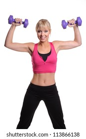 Women working out with dumbells overhead