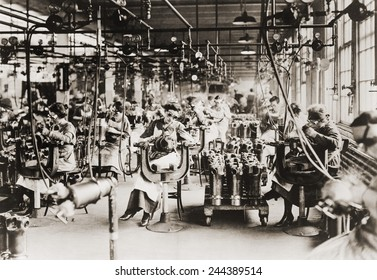 Women working in Welding Department, Lincoln Motor Company in Detroit, Michigan during World War I.
