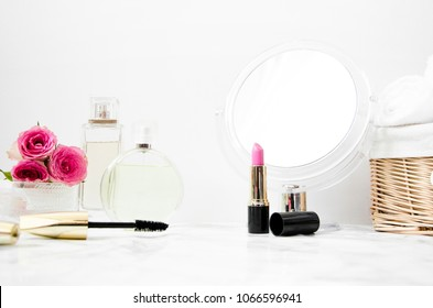 women's accessories in the bathroom with a mirror and cosmetics