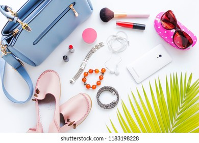 Women's accessories and cosmetics on white background, Fashion and beauty concept