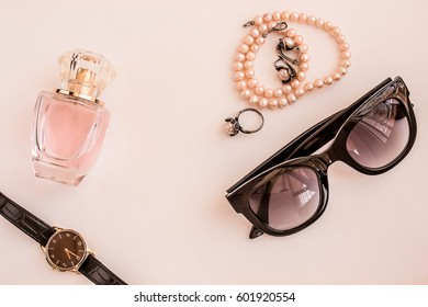 Women's accessories for handbags, phone, glasses, perfume and jewelry