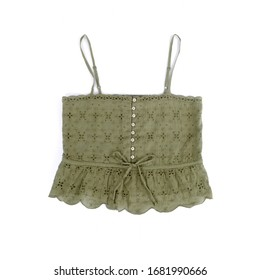 Women's Army Green Eyelet Cotton Tank Top Isolated on White