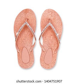 Women's beach pink flip flops with sequins. Glamour summer flipflop shoes, isolated. Orange Flip Flop Isolated On White Background, Top View. Toe sandals in coral color, flat lay