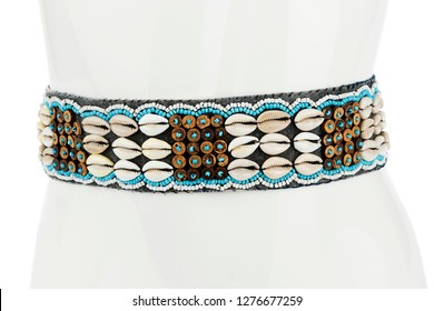 Women's belt decorated with sea shells isolated on white background.