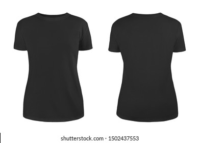 Women's black blank T-shirt template,from two sides, natural shape on invisible mannequin, for your design mockup for print, isolated on white background.