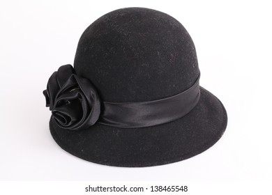 Women s black hat isolated on white background 9514548e0c17