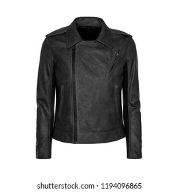 Womens black leather jacket isolated on white background. Ghost mannequin photography