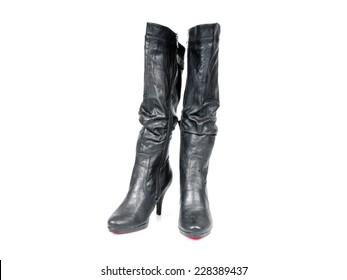 Leder Frauen schwarze knielange Stiletto Stiefel Stockfoto