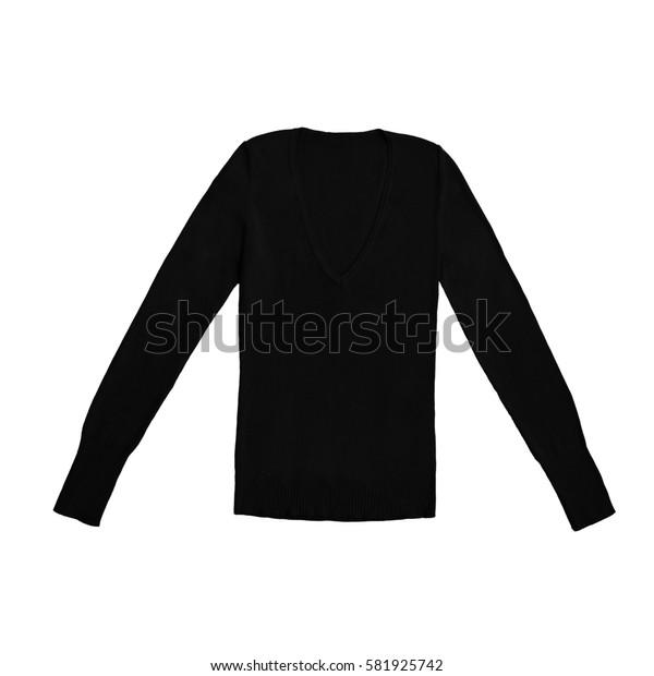 women's black v-neck pullover, isolated on white