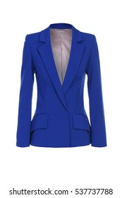 women's blue jacket on white background