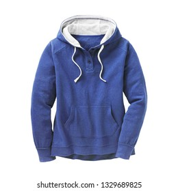 Women's Blue Pullover Hoodie Isolated. Hooded Sweatshirt. Lady Long Sleeves Apparel Front View. Bunny Hug Kangaroo Sweat Hoodies Jumper with Hood and Drawstrings. Sweater with Pocket. Clothing Garment