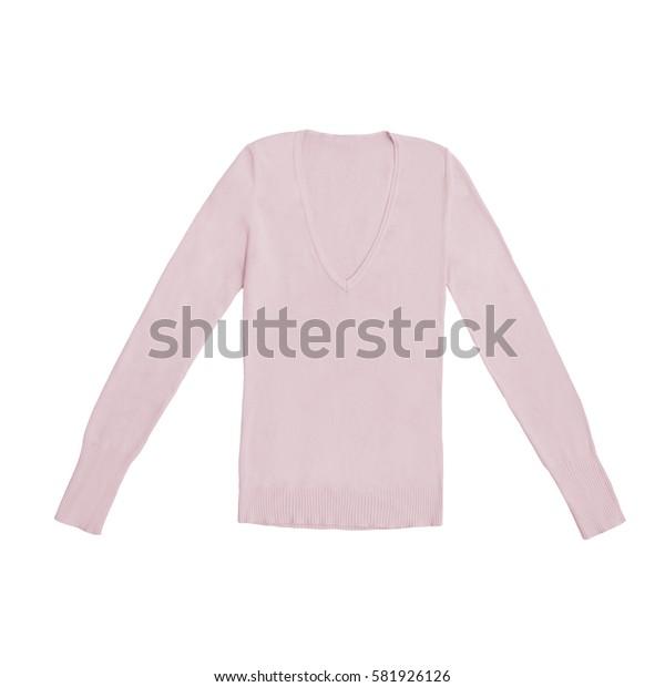 women's blush v-neck pullover, isolated on white