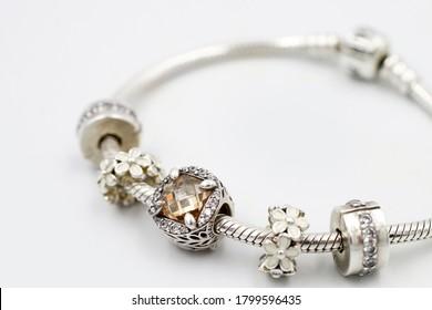 Women's Bracelet Pandora, Charms close-up, jewelry.