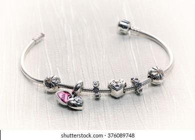 Women's Bracelet Pandora, Charms close-up, jewelry, retro style