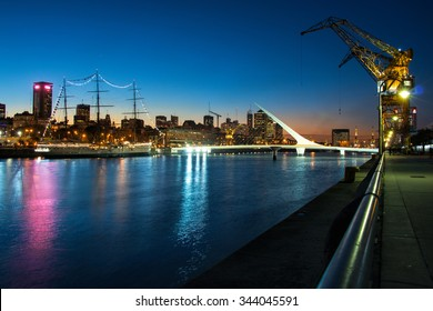 Womens bridge at night, Puerto Madero Buenos Aires Argentine