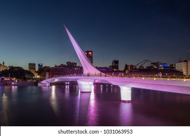 Womens Bridge (Puente de la Mujer) in Puerto Madero at night - Buenos Aires, Argentina