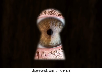 Women's brown eye looking through the keyhole. The concept of voyeurism, curiosity, Stalker, surveillance and security