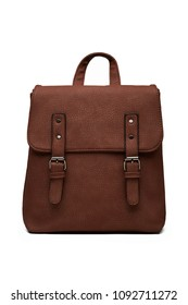 Women's brown leather handbag in retro style, with a flap top, handle and buckles, front view. The fashionable purse for office, business trips or casual occasions isolated over the white background.