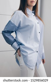 Women's Classic Blue And White Striped Shirt