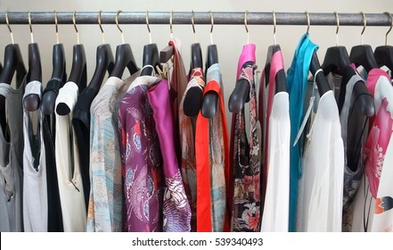 Women's clothing on a hanger in the store
