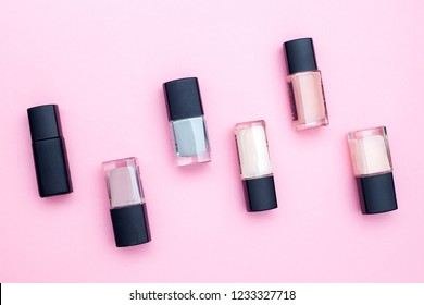 women's cosmetics on a pink background. Flat lay