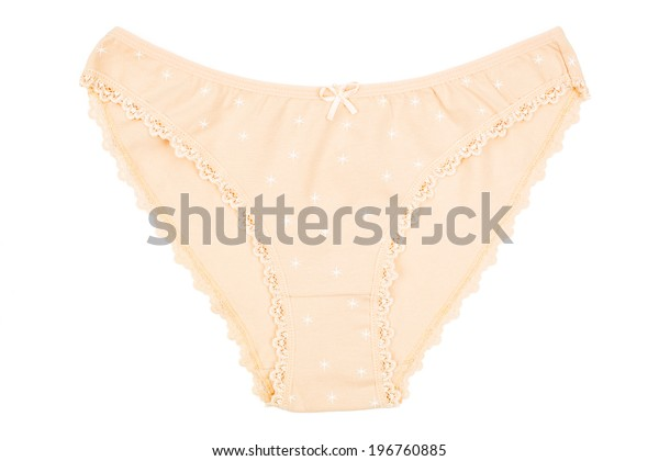 a women's cotton panties beige flowered isolated on white background