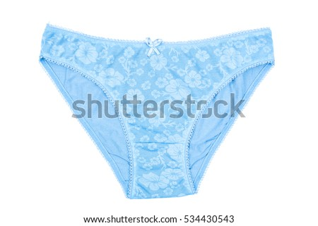 d45880608134 Women's cotton panties flowered isolated on white background. Blue underwear .