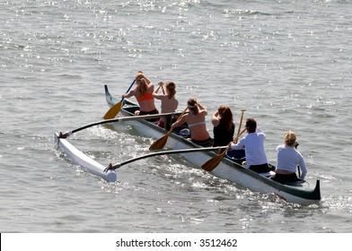 Women's Crew Team Training In The Pacific Ocean