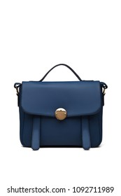 Women's dark blue leather bag in vintage style, with a flap top, handle, gold lock, front view. The trendy purse for office, business trips or casual occasions isolated against the white background.